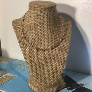 Quirky Pink and Silver Bead Necklace